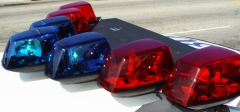 Red and blue police lights
