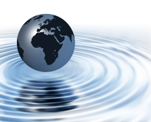 World on rippled water